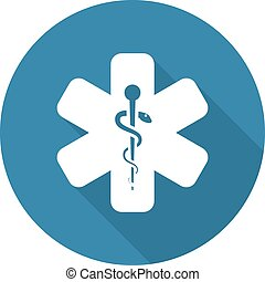 Star of Life Icon. Flat Design. Isolated.