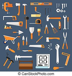 Construction and repair tools flat icons