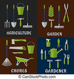 Tools for agriculture and gardening work - Tools for...