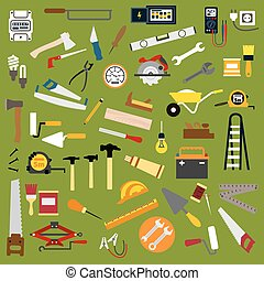 Industrial hand tools and equipment flat icons - Builder,...