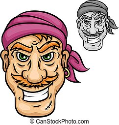 Cartoon pirate or sailor with red moustache