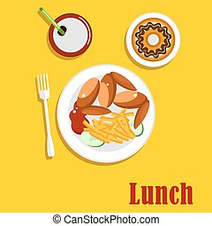 American fast food lunch menu elements