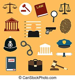 Law, justice and police flat icons set. Lawbook, prisoner...