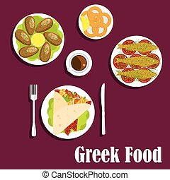 Traditional greek cuisine dinner flat icon - Traditional...