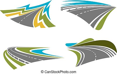 Mountain, rural, coastal roads and highways icons - Steep...
