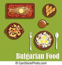 Traditional bulgarian cuisine dishes and drink - Delicious...