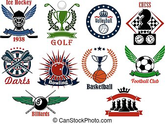 Spors games icons, emblems and tournament badges - Icons of...