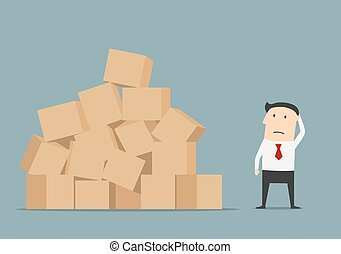 Businessman has problem with delivery and storage