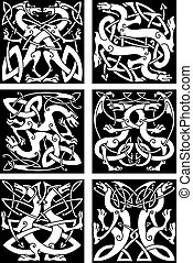 Magic dragons celtic knot patterns in tribal style - Magic...