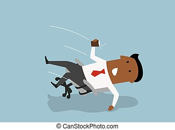 Black businessman fall backwards in an chair - Distracted...