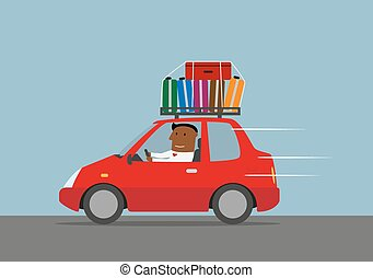 Happy businessman goes on vacation by car