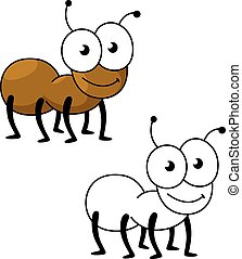 Cartoon brown worker ant insect - Cartoon little brown...