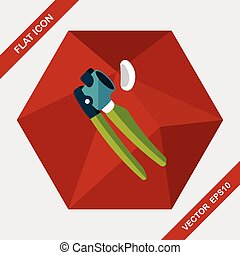 kitchenware garlic tool flat icon with long shadow,eps10