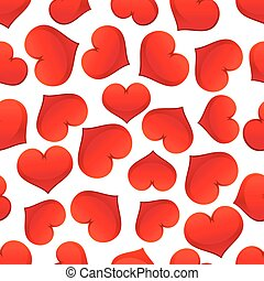 Red hearts pattern on white background