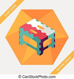 folding chair flat icon with long shadow,eps10