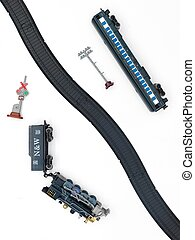 Toy Train Set - A close studio photo of a toy train set