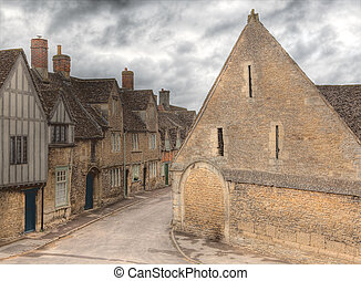 Lacock village - View on the medieval English cottages and...