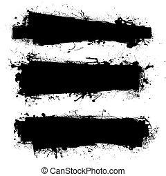 black ink banner - Black ink banner with ink grunge effect...