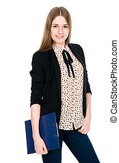 Beautiful office young smiling woman with a tablet. Isolated...