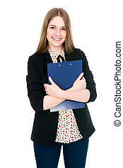 Beautiful office young smiling woman with a tablet.