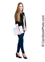 Full length of young blond smiling girl holding clipboard...