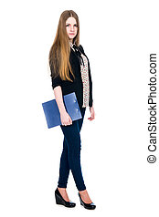 Full length of young blond girl holding clipboard looking...