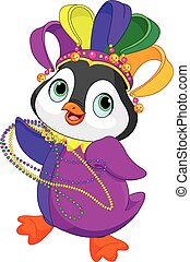 Mardi Gras Penguin - Illustration of Penguin wearing Mardi...