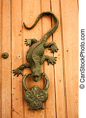 Metal knocker shaped dragon or lizard. Spanish colonial...