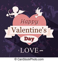 Happy Valentine day in retro style, vector illustration