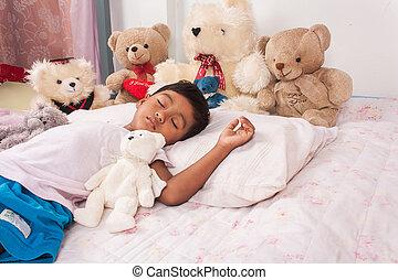 little asian boy sleep with teddy bear