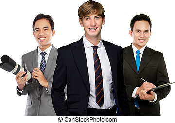 A team of mix young asian- caucasian businessman. isolated...