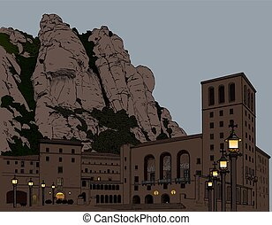 Illustration Montserrat Monastery in the mountains in Spain