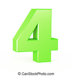 three-dimensional number in green