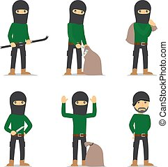 Criminal man Burglar and thief vector character - Criminal...