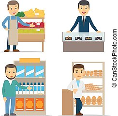 Seller at the counter vector illustration. Jewelry, bread...