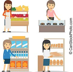 Saleswoman at the counter vector - Saleswoman with fruits...