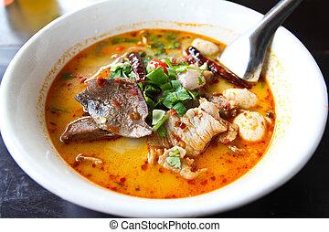Pork noodle tom yum ,Thai food