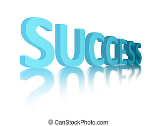 Blue sucess - Success 3d advertisement over white background...