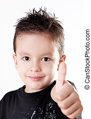 Child - 5 years old child doing a positive signal with his...