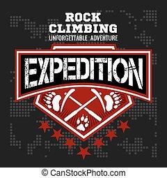 Expedition. Mountain climbing. Climber. - Rock climbing...