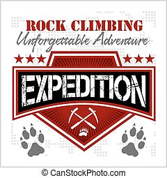 Expedition. Mountain climbing. Climber. - Rock climbing...