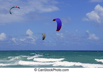 Kite surf water sports in Florida Miami beach under blue sky