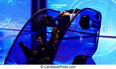 player in 5d virtual reality game simulator