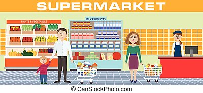 Clip Art Supermarket Clipart vectors of family shopping fruits in a supermarket vector supermarket