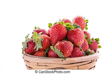 a pile of fresh strawberries