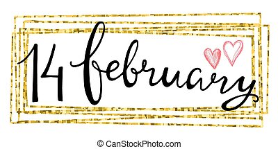 Valentines Day Card lettering 14 february in a rectangular...
