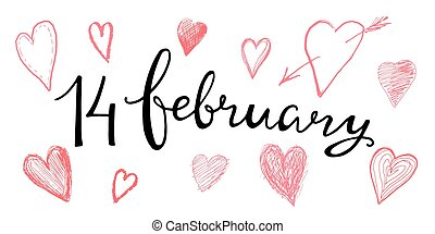 Valentines Day Card lettering 14 february. Vector...