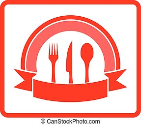 kitchen icon - red isolated kitchen icon with fork, knife...