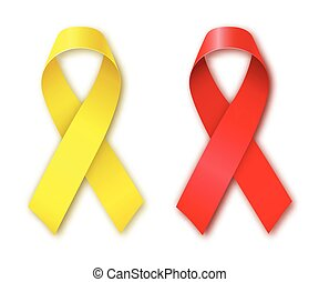 Cancer Awareness Red and Yellow Ribbons.
