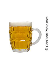 Beer mug full of lager beer